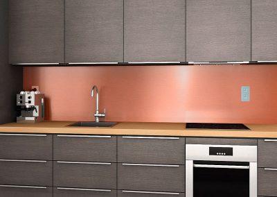 Zambala keuken achterwand in uni metallic koper
