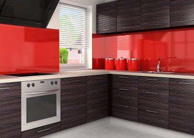 Zambala keuken achterwand in Uni hoogglans rood