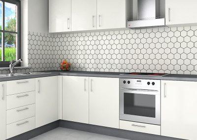Zambala keukenachterwand met hexagonmotief