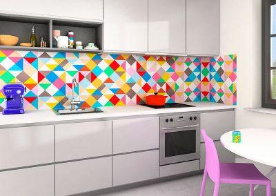 Zambala keuken achterwand met kleurrijk ruitpatroon