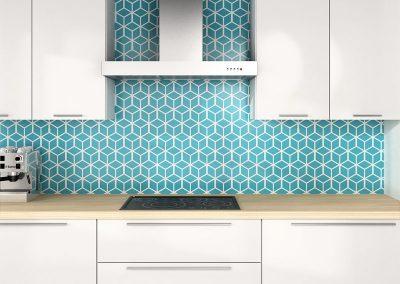 Zambala keukenachterwand met 3D kubus effect